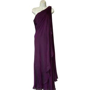 Theia Purple One Shoulder Cocktail Dress